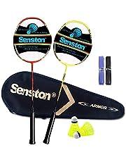 Senston Graphit Badmintonset Carbon professionele badmintonracket lichtgewicht badmintonracket veer set voor training, sport en entertainment met opbergtas