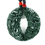 Natural Green Jade Hand carved Couple Dragon Phoenix pendant necklace