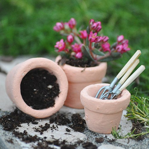Miniature Fairy Garden Tiny Pots, Set of 3, Baby & Kids Zone
