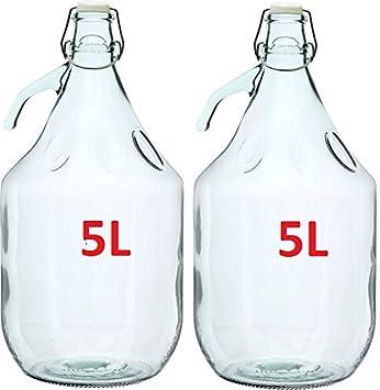 2 x garrafa de botella de vidrio de vino gärballon globo de forma de globo 5L cierre de clip BDG5D: Amazon.es: Hogar