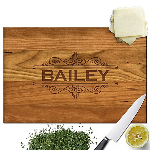 Froolu Calligraphic Border extra large wooden chopping board for Name Engraved Birthday - Engraved Cutting Board