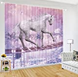 LB 2 Panels Room Darkening Thermal Insulated Blackout Curtains,Unicorns Go the Canoe Window Treatment 3D Effect Print Living Room Bedroom Window Drapes,80 Inch Width by 63 Inch Length