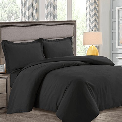 Nestl Bedding Duvet Cover, Protects and Covers your Comforter/Duvet Insert, Luxury 100% Super Soft Microfiber, Queen Size, Color Black, 3 Piece Duvet Cover Set Includes 2 Pillow - Comforter Black