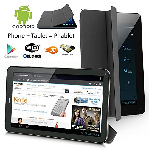 Indigi Android 2-in-1 Tablet & Smartphone WiFi Bluetooth Dual Camera - Built in Smart Cover - 7'' - Black by inDigi