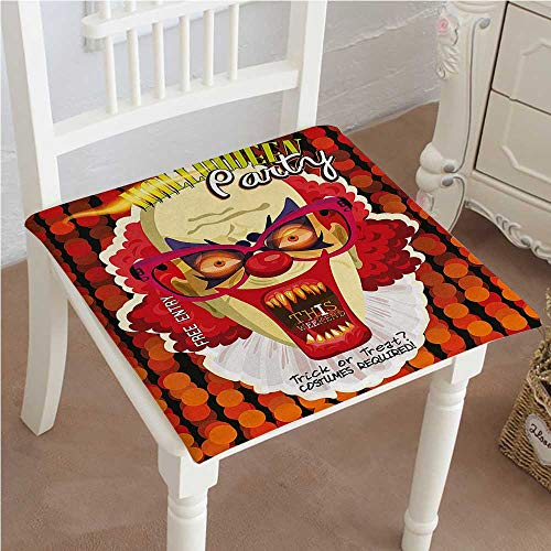 Mikihome Classic Decorative Chair pad Seat Halloween Contemporary Party Clown with al Round Backdrop Cushion with Memory Filling 20
