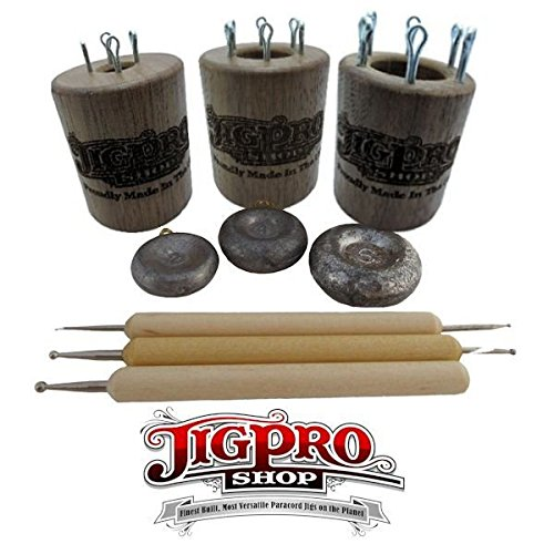 Double Sided Paracord Knitting Spool Set Kit (Small, Medium, & Large) Walnut by Jig Pro Shop