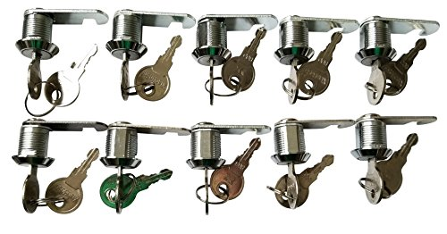 5/8 inch or 16mm Cam Lock with Flat Keys. 16mm 5/8 Cylinder and Chrome Finish, Keyed Alike (Pack of 10) by Products Quad