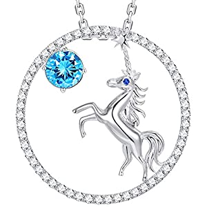 Christmas Gift for Girls Love Unicorn Jewelry December Birthstone Blue Topaz Necklace Anniversary Birthday Gift for Her for Women Charm Animals Fairytale Pendant Sterling Silver Rolo Chain 18