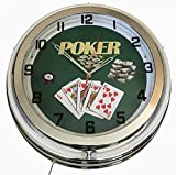 18'' Neon Clock Double Ring Poker Blue Outer Ring and White Inner Ring wall Clock Bright Neon Light New