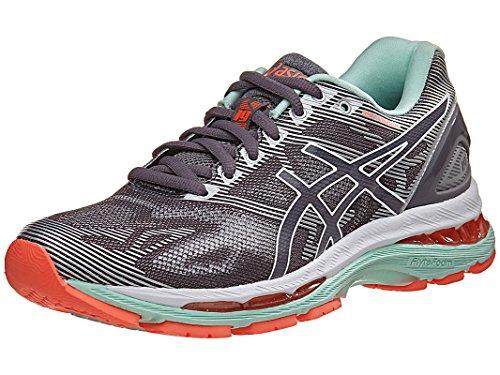 ASICS Women's Gel-Nimbus 19 Running Shoe, Carbon/White/Flash Coral, 7.5 D US