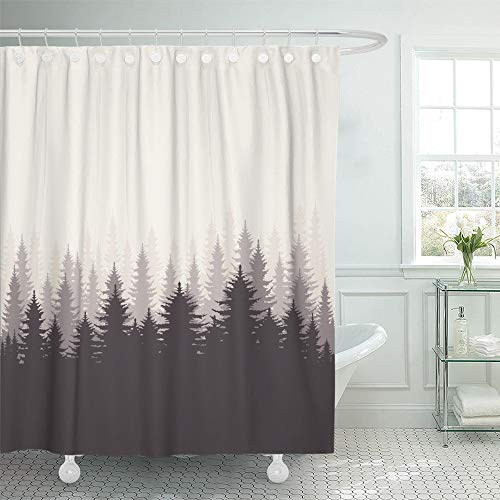 - Emvency Shower Curtain Waterproof Adjustable Polyester Fabric Brown Tree Coniferous Forest Silhouette Pine Nature Abstract Gradient Landscape 60 x 72 Inches Set with Hooks for Bathroom