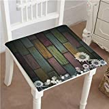 Antique Wooden Fold Up Chairs Mikihome Indoor/Outdoor All Weather Chair Pads Antique Old Planks American Style Western Rustic Wooden and Sunflower, Flower, Grass Seat Cushions Garden Patio Home Chair Cushions 14