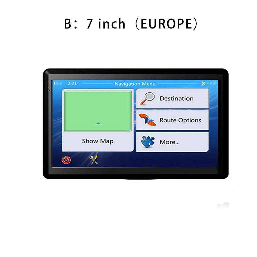 starter Cami/ón GPS de 7 Pulgadas con navegaci/ón por sat/élite Navegaci/ón de 256M RAM 8GB con Mapas de Toda la Vida de Europa y Am/érica Canad/á Negro sin Bluetooth, sin AV-IN
