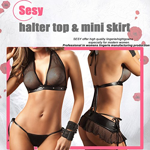 daa7011b1 SESY Women s Sexy Lingerie Mesh Leather Bra Top Halter Mini Skirt with Thong  Set Black