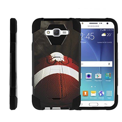 Dual Layer Case by MINITURTLE Compatible with Samsung Galaxy J7 [Shock Fusion] High Impact Dual Layer Case with Kickstand - Football Lace Close - Double Case Case Football