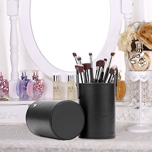 EMOCCI Makeup Brush Holder Large Pu Leather Make Up Cosmetic Cup Holders Storage Organizer Case Box(Black)