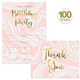 Birthday Party Invitations ( 100 ) & Matched Thank You Notes ( 100 ) Set with Envelopes, Great for Large Celebration Sweet 16 21st B'day Write-in Guest Invites & Blank Thank You Cards Best Value Pair