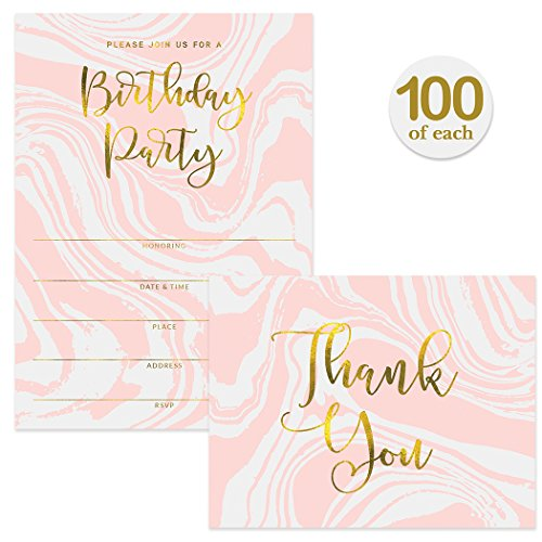 Birthday Party Invitations ( 100 ) & Matched Thank You Notes ( 100 ) Set with Envelopes, Great for Large Celebration Sweet 16 21st B'day Write-in Guest Invites & Blank Thank You Cards Best Value Pair by Digibuddha