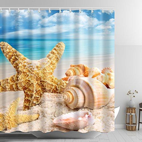 ABxinyoule Starfish Conch Beach Blue Sky Shower Curtain Ocean Seashell Polyester Fabric Bathroom Decal (Blue Conch Shell)