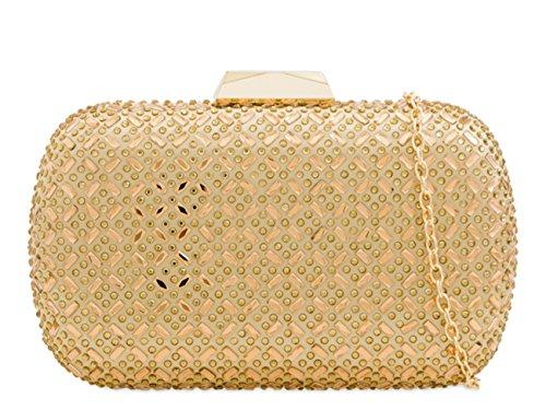 LeahWard Women's Wedding Purses Gold Handbag Clutch Evening 2217 Diamante Bag U6qUO1A