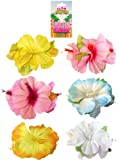SET OF 6 HIBISCUS HAIR CLIPS