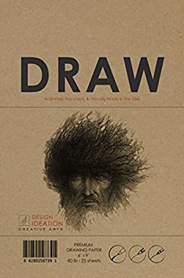 Premium Paper Drawing Pad for Pencil, Ink, Marker, Charcoal and Watercolor Paints. Great for Art, Design and Education.