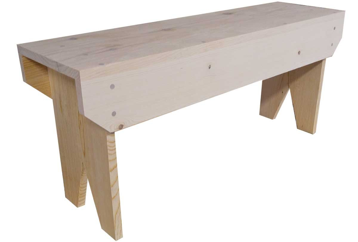 Sawdust City 4 Foot Wood Bench (Unfinished Pine)