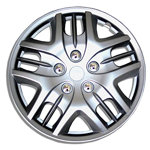 TuningPros WSC-025S16 Hubcaps Wheel Skin Cover 16-Inches Silver Set of 4 (Hubcaps 2007 Nissan Altima compare prices)