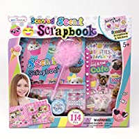 Hot Focus Scented Secret Scrapbook for Arts and Crafts Project Set/Kit. Includes a 60 Page Album with Passcode Lock, Scented 3D Stickers, Jewels. Great for Kids/Girls/Tween.