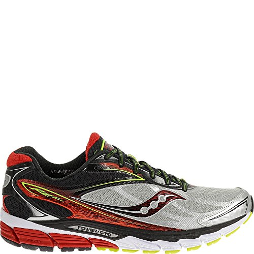 (Saucony Men's Ride 8 Running Shoe, Silver/Red/Citron,10 M US)