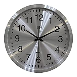 hito Modern 16 Inches Silent Non-ticking Wall Clock w/Metal Frame, no Front Cover (Metal Dial)