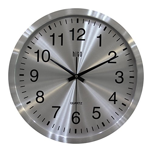 hito 16 Inch Oversized Modern Silent Wall Clock Non Ticking Metal Frame Dial, no Front Cover (16 inches, Metal Dial)