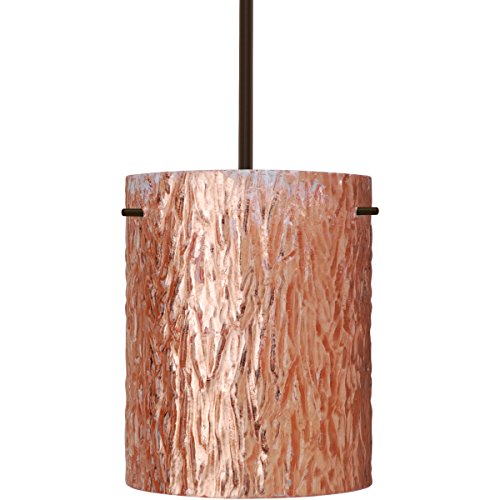 Besa Lighting 1TT-4006CS-BR 1X100W A19 Tamburo 8 Pendant with Stone Copper Foil Glass, Bronze Finish
