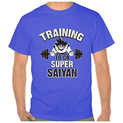 Bestong Men's Short Sleeve Performance DRAGON BALL Super Saiyan Tee Small Royal Blue