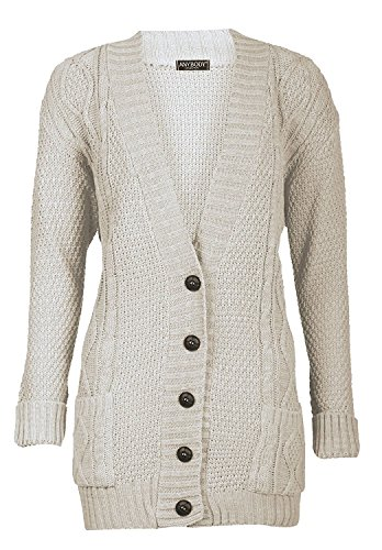 ed78e18c0bf3 GirlzWalk Womens Long Sleeves All Sizes Knitted Grandad Button Cardigan (ML