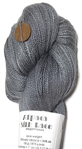 100% Baby Alpaca Lace - Hand Dyed Alpaca Silk Yarn, Solid Charcoal, Lace Weight, 100 Grams, 875 Yards, 70/30 Baby Alpaca/Mulberry Silk