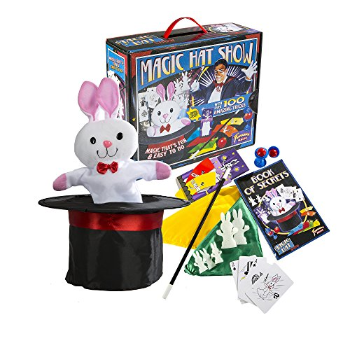 [Fantasma Toys Retro Magic Hat Show – 100 Fun and Easy Tricks – Includes Fabric Top Hat with Secret Pocket – Made with Small Hands in Mind – For Ages 5 and Up] (Fantasma Magic Kits)