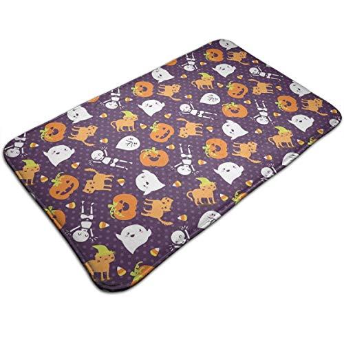 Silly Halloween Frightful Friends Outside Shoe Mat Rubber Doormat for Front Door Outdoor Mats Entrance Waterproof Rugs for Patio Non Skid Doormats All Weather Exterior Door Mat -