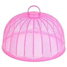 uxcell® Plastic Mesh Semicircle Shaped Household Kitchen Food Cover Dish Meals Pink