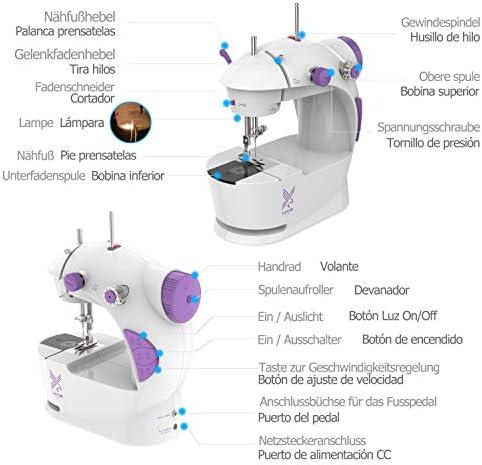 KPCB Mini Máquina de Coser Portatil y Versátil con Gran Mesa de Costura, Fácil de Usar y Práctica (Manual en Español): Amazon.es: Hogar