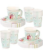 Talking Tables Truly Scrumptious Vintage Floral Paper Tea Cups with Handles and Saucers for a Tea Party or Birthday