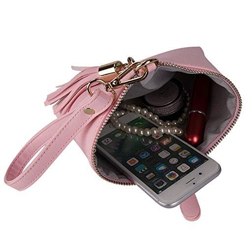 Bourse en triangle Sac feuille pampille xhorizon PU Sacoche cuir Porte Rose pour main Monnaie pompon à femmes Porte 7gEcqnqWY