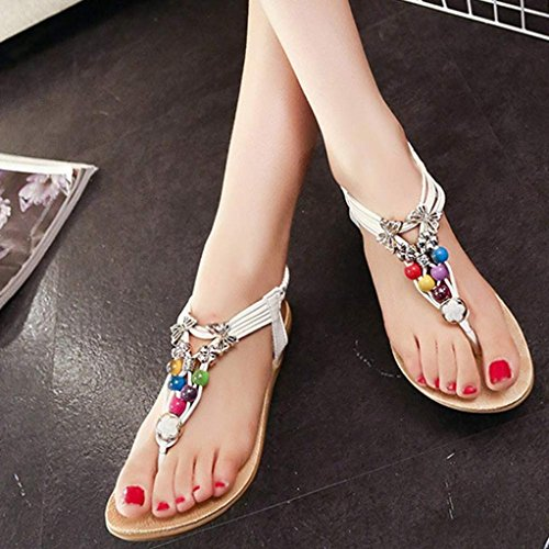 Koly Women Summer Bohemia Sweet Beaded Sandals Flip Flop Sandals Beach Shoes White VVadKdbv
