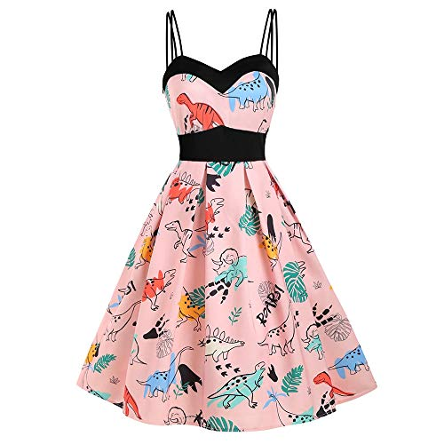 KCatsy Dinosaur Print Dual Strap Dress Deep Peach -