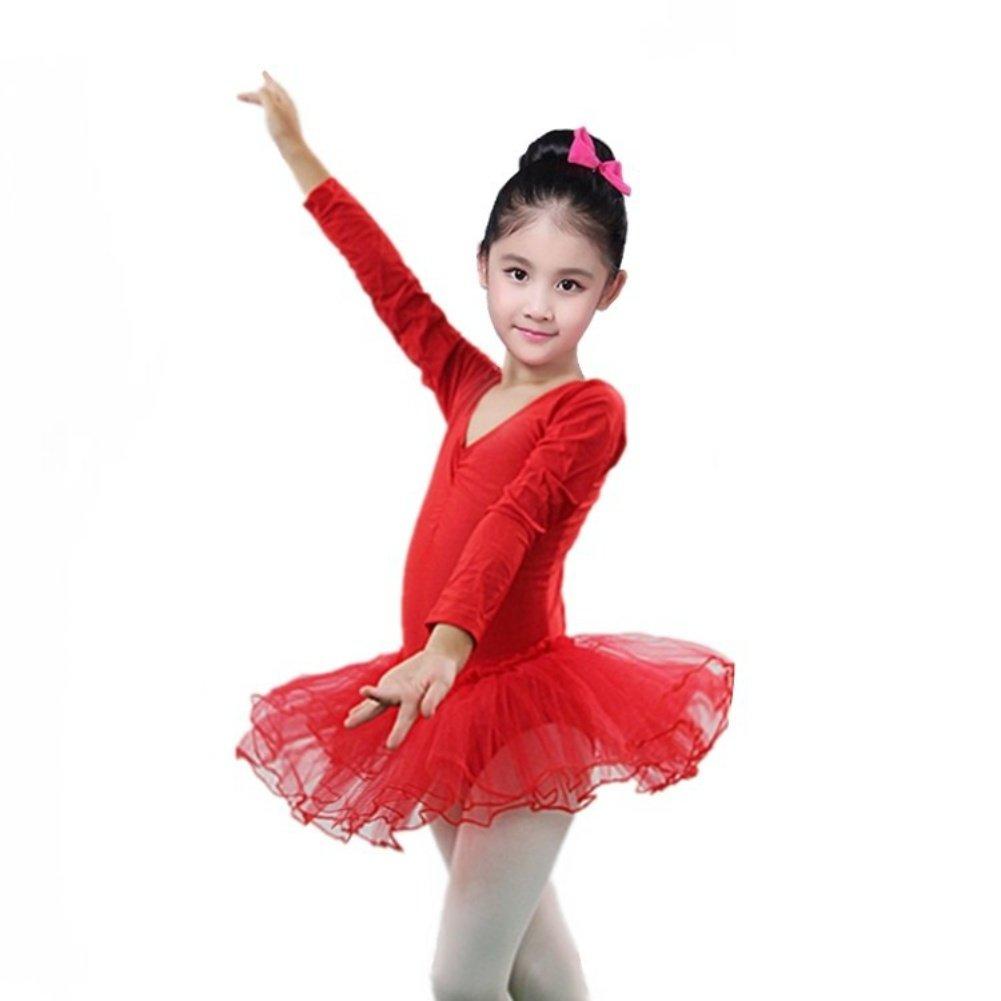Brightup Ragazze ' Classic manica lunga tutu abito Body, Bambini tutu Tulle Ballet ginnastica body abito, danza bambini usura
