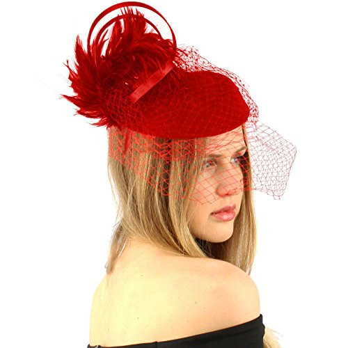 Fancy Wool Swirl Ribbon Feathers Veil Headband Fascinator Cocktail Hat Cap Red