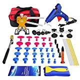 Super PDR 52Pcs Pro Paintless Dent Remover Removal Tools Kit Car Auto Body Hail Damage Door Dings Repair Devices Set Dent Lifter Bridge Puller Hot Melt Glue Gun