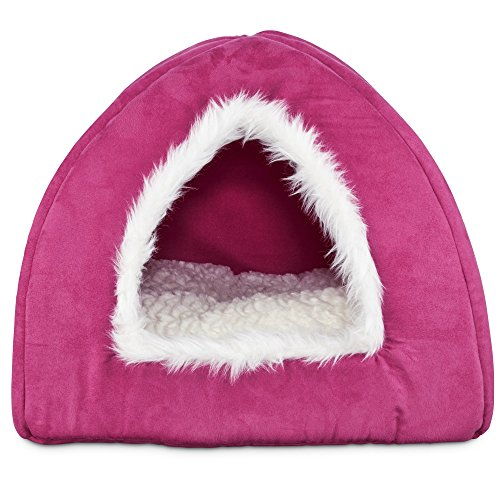 Harmony Hooded Igloo Cat Bed in Raspbe