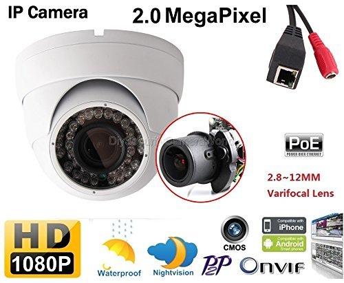 2.0MP Indoor/Outdoor Dome Network Camera with Motorized Varifocal 2.8-12mm Lens, 1080p, H264, Day/Night, IR, Onvif, PoE/12VDC [並行輸入品] B01KDO0BCE