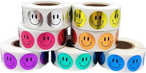 0.75'' Inch Round Metallic Smiley Face Happy Stickers Bulk Pack - 3,500 Total Circle Adhesive Labels - 500 Per Color/Design